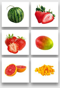 西瓜草莓芒果水果透明PNG免扣素材