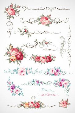 花朵花边玫瑰花底纹素材