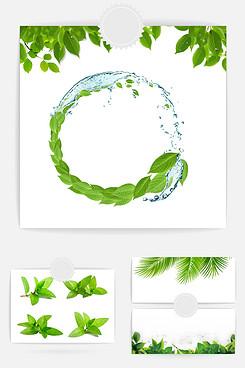 绿色树叶装饰元素
