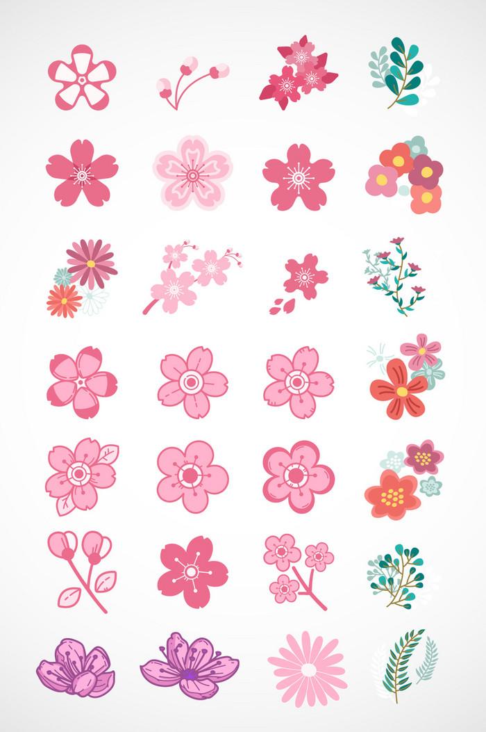 清新花朵美丽樱花矢量素材