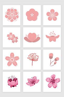 桃花樱花矢量素材