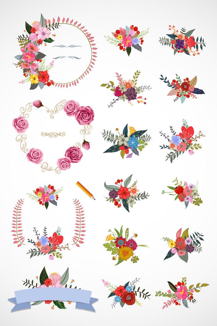 春天花卉时尚花瓣矢量素材