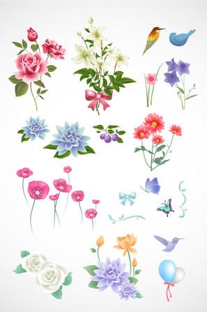 浪漫春天花朵矢量素材