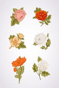 矢量手绘花朵素材