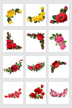 玫瑰花花边素材设计